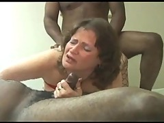 BBW with two black cock