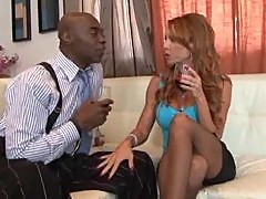 Redhead makes hubby watch her go black
