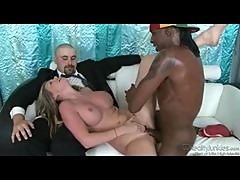 Wife teases hubby as black cock takes her cunt