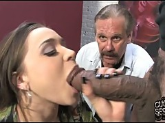 Tiffany Star whacks her beautiful mouth with a monster sausage she can't resist