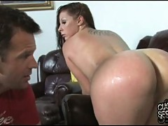 Slut Gianna Michaels gets her cuckold to clean her up