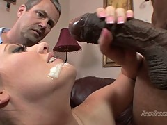 Brooklyn Jade drinking the warm cum of a hard cock