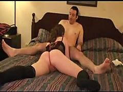Young Brunette Housewife And Her Husband Take On An Old Guy As A Third For Their Three-way