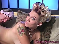 Candy Monroe gets her cuckold to clean up the cum