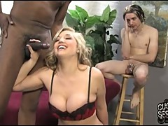 Dayna Vendetta blow the whistle of a black guy