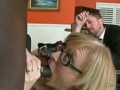 Marriage counselor fucks the wife while husband takes notes!