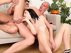 Guys with hard cocks suck and fuck with slutty girl joining.