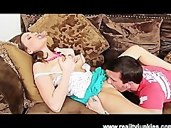 Brunette Bitch Cheats On Her Passed Out Boyfriend