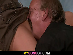 Horny guy licks and fucks sweet pussy