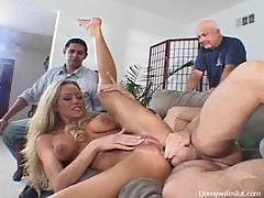 Blonde MILF Gets A Dicking While Two Dudes Stare