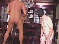 Cuckold hot blonde watches Milf get big dick in mask