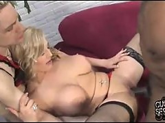 Big titty blonde babe cuckolds him