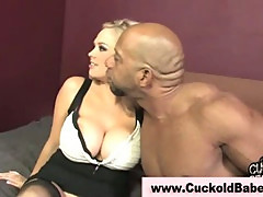 Blondie really like giving head to black cock on a couch