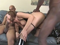Hot brunette babe fucked by two black dudes while cuckold watches