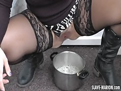 Slut wife pisses outdoors