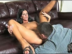 India Summers pussy licking her cunt on couch
