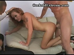 Sexy redhead enjoys hubby watching