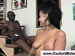 Cuckold husband takes black cumshot